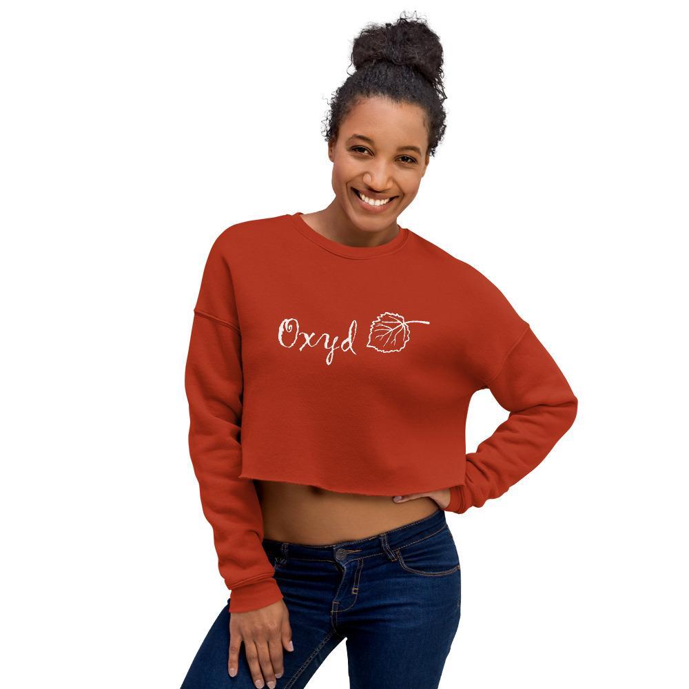 OXYD® Leaf White Bella + Canvas 7503 Women's Fleece Crop Sweatshirt