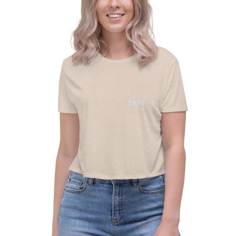 OXYD® Embroidered Flowy Crop Tee | Bella + Canvas 8882