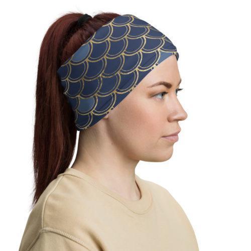 foulard tube bleu nuit et or ecailles