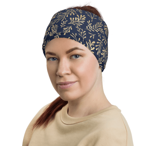 foulard tube bleu nuit et or feuilles