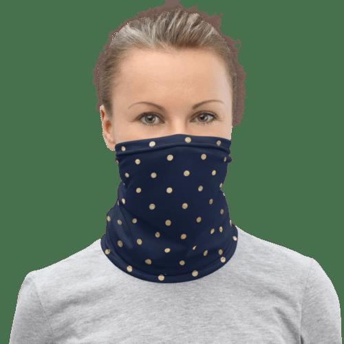 foulard tube bleu nuit et or polka