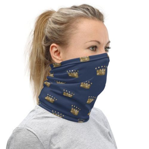 foulard tube bleu nuit et or couronne