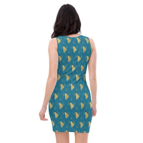 Art Deco Dress Cerulean Blue 05
