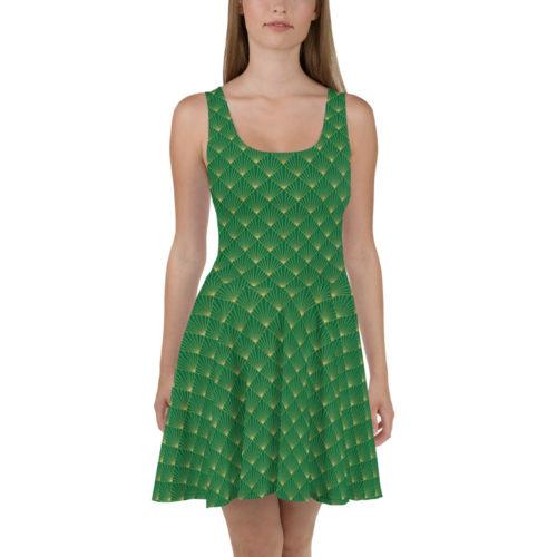 Art Deco Skater Dress Jewel Green 04