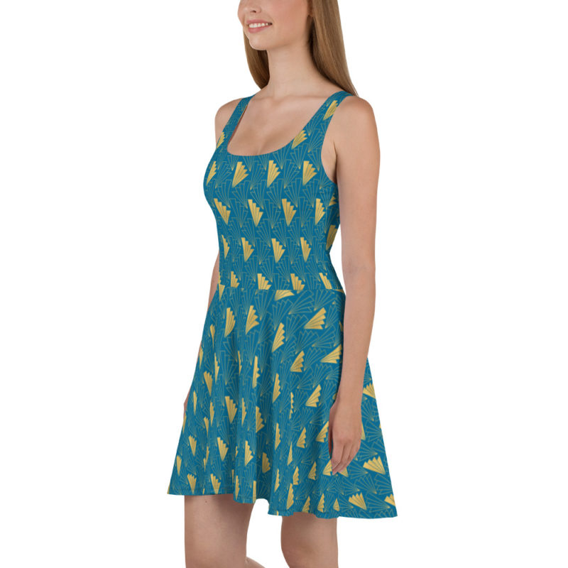 Art Deco Skater Dress Cerulean Blue 05