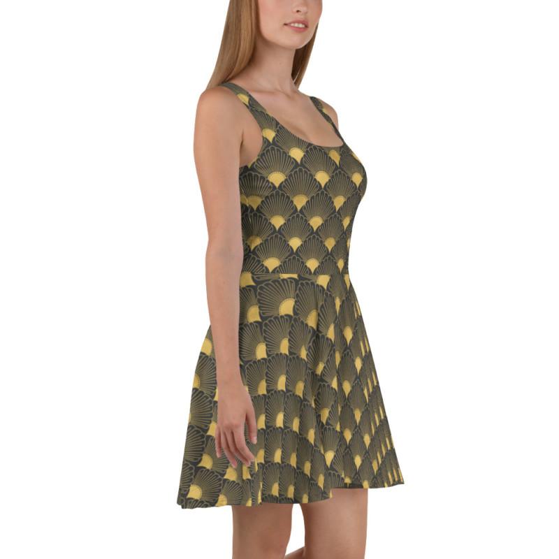 Art Deco Skater Dress Eclipse Grey 06