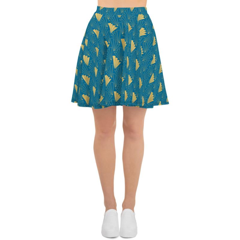 Art Deco Skater Skirt Cerulean Blue 05