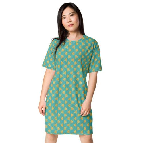 Art Deco T-shirt dress Viking Blue 01