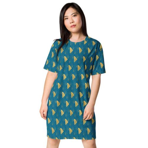Art Deco T-shirt dress Cerulean Blue 05