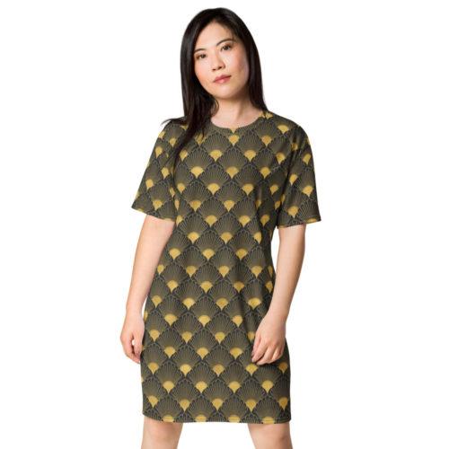 Art Deco T-shirt Dress Eclipse Grey 06